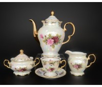 Роза Перламутр Фредерика кофейный сервиз (чашки 140мл) на 6 персон 15 предметов