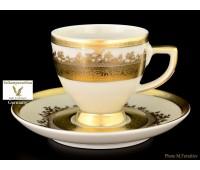 """Falkenporzellan """"Крем Голд 9320"""" набор чашек с блюдцами для кофе 110мл из 6ти штук"""