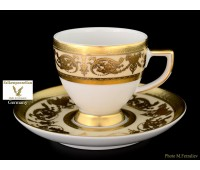 """Falken Porsellan """"Империал Крем Голд"""" набор чашек с блюдцами для кофе 110мл из 6ти штук"""
