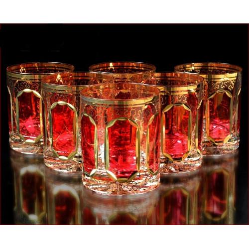 Цветной Хрусталь  Рубин набор стаканов 350мл 6штук