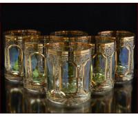 Цветной Хрусталь Аурум Изумруд набор стаканов 350 мл 6 штук