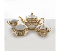 Лист Бежевый сервиз чайный на 6 персон из 15-ти предметов