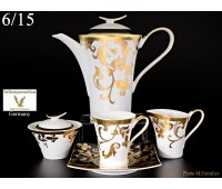 """Falken Porselan """"Тоска Блэк Голд"""" сервиз чайный на 6 персон из 15ти предметов"""