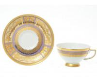 """Falkenporzellan """"Диадем Виолет Голд"""" набор чашек с блюдцами для чая 250мл из 6ти штук"""
