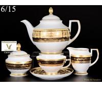 """Falken Porselan """"Диадем Блэк Крем Голд"""" чайный сервиз на 6 персон 15 предметов"""