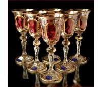 Цветной Хрусталь  Рубин набор бокалов 60мл 6штук