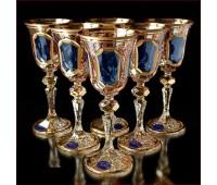Цветной Хрусталь  Топаз набор бокалов 60 мл 6штук