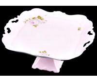 """Веймар """"Алвин Розовый"""" блюдо квадратное 30см на ножке"""