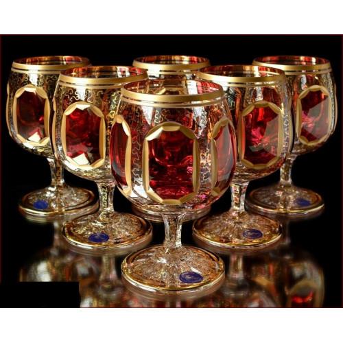 Цветной Хрусталь  Рубин набор бокалов 350мл 6штук
