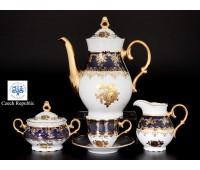 ОФ 677 Золотая роза Кобальт кофейный сервиз на 6 персон 15 предметов