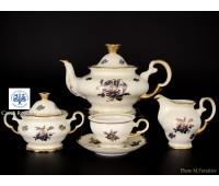 АГ 806 Роза Синяя чайный сервиз на 6 персон 15 предметов