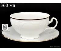 Бернадот Белый Набор 6 чашек / 6 блюдец 360мл