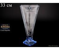 """Стекло """"Квадро"""" ваза для цветов 33см синяя"""