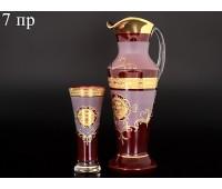 Богемия набор кувшин и 6 стаканов Испан красный