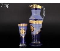 Богемия набор кувшин и 6 стаканов Испан синий