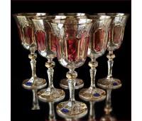 Цветной Хрусталь  Рубин набор бокалов 220мл 6штук