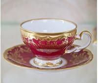 """Веймар """"Ювел Красный"""" набор для кофе 160мл на 6 персон 12 предметов"""