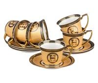"""Lefard """"Hermes Бежевый"""" набор чашек с блюдцами 200мл на 6 персон 12 предметов"""