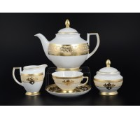 """Falken Porselan """"3D Алена Крем Голд"""" сервиз чайный на 6 персон 17 предметов"""