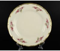 АГ 804 Розовые Цветы набор тарелок 21см из 6ти штук(фарфор цвета слоновой кости)