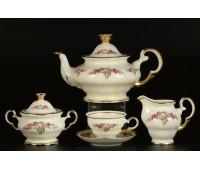 АГ 804 Розовые Цветы Слоновая Кость чайный сервиз на 6 персон 15 предметов(фарфор цвета слоновой кости)