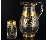 Лепка Золотой узор набор кувшин и 6 стаканов