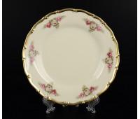 АГ 804 Розовые Цветы набор тарелок 17см из 6ти штук(фарфор цвета слоновой кости)