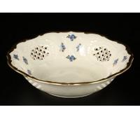 АГ 850 Синий Цветок Слоновая Кость блюдо круглое ажурное 23см