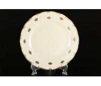 АГ 901 Золотые Мелкие Розы Слоновая Кость набор тарелок 25см 6 штук