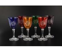 Цветной Хрусталь Клеопатра набор бокалов 250мл 6 штук