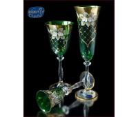Зеленая Лепка  набор бокалов из 18 штук