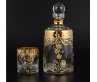 Лепка Золотой узор набор штоф и 6 стаканов