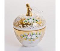 Белая Лепка ваза с крышкой яблоко 10см
