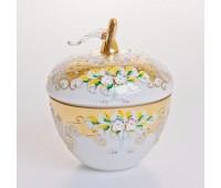 Белая Лепка ваза с крышкой яблоко 15,5см