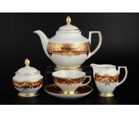 "Falken Porselan ""Наталия Бордо Голд"" чайный сервиз на 6 персон 17 предметов"
