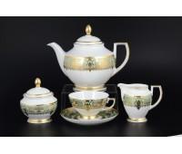 """Falken Porselan """"Донна Грин Голд"""" сервиз чайный на 6 персон 17 предметов"""