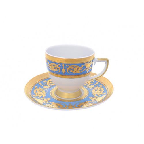 """Falken Porsellan """"Империал Блю Голд"""" набор чашек с блюдцами для кофе110мл из 6ти штук"""