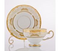 """Веймар """"Золотая Симфония 427"""" набор чашек с блюдцами для чая 210мл подарочная упаковка"""