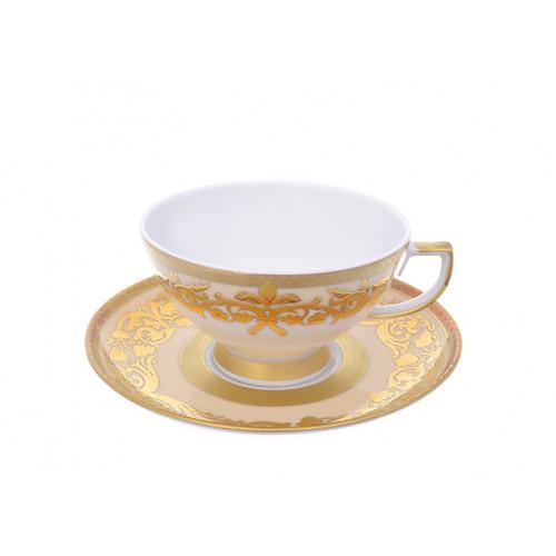"""Falken Porselan """"Наталия Крем Голд"""" набор чайных пар 220мл 6 штук"""