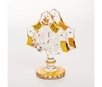 Роспись Хрусталь с Золотом салфетница 14см