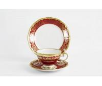 """Веймар """"Ювел Красный"""" набор для чая (6чашек 210мл, 6 блюдец, 6 тарелок десертных)"""