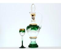 Волна Зеленая набор штоф и 6 бокалов 60мл