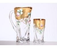 Роза Квадро набор кувшин и 6 стаканов