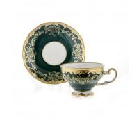 """Веймар """"Ювел Зеленый 876"""" набор для чая 210мл на 6 персон 12 предметов"""