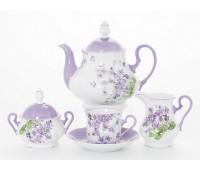 Леандер Лиловый чайный сервиз на 6 персон 17 предметов