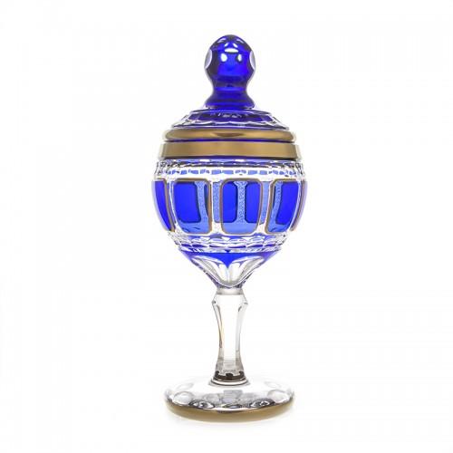 Арнштадт Антик Синяя ваза для конфет 36см на ножке