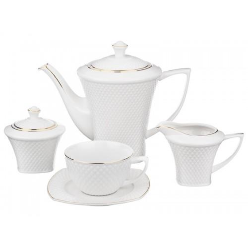 """Lefard. Чайный сервиз """"Даймонд Голд"""" на 6 персон 15 предметов в подарочной упаковке"""