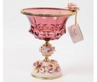 Rosaperla  Цветы розовая ваза для конфет 21,5см