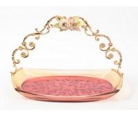 Rosaperla  Цветы розовое блюдо овальное с ручкой