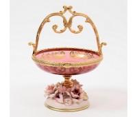 Rosaperla  Цветы розовая ваза для конфет с ручкой